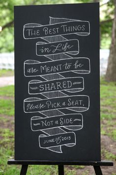Chalk board wedding sign: http://www.stylemepretty.com/texas-weddings/austin/2014/01/23/vintage-romantic-wedding-at-salt-lick-bbq-in-austin-tx/ | Photography: Braden Harris - http://www.bradenharris.com/