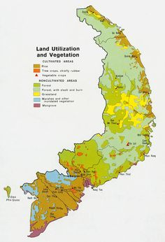 South Vietnam Vegetation Map.