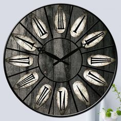 New Silent Antique Wooden Round Wall Clock Rustic Vintage Roman Numerals  Design
