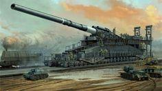 Massive German railway gun.
