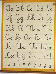 Netjes leren schrijven, toen kregen we nog echt schrijfles. Netjes tussen de lijntjes met een mooie boog.