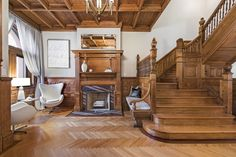 This Park Slope townhouse—the most expensive in the Brooklyn neighborhood—has the perfect herringbone wood floors. | archdigest.com