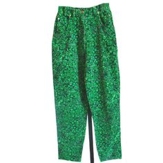 Green Velvet Pants Lilly Pulitzer  Lion Animal Print Size  #LillyPulitzer #CasualPants