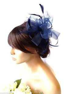 Navy Blue Net Bow & Feather Hair Comb Slide Fascinator Hatinator Races Wedding