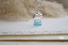 Aquamarine Blue Raindrop Silver Color Cloud  Handmade by ZJJewelry, $17.99