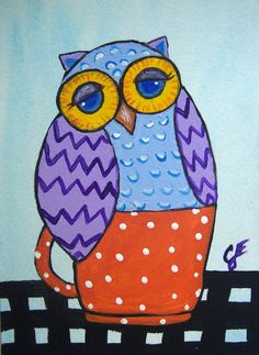 "ACEO ATC ""Folk Art Owl"" Talavera Bird Collectible Art Deco Original Painting Ellison"