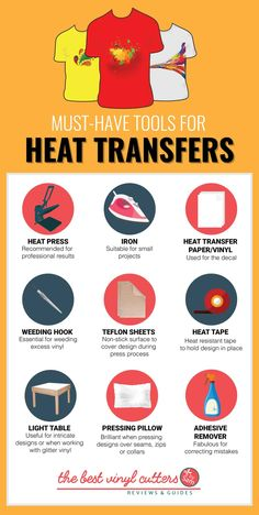 What Do I Need to Print T-Shirts at Home? Here is a list of the heat transfer vi… What Do I Need to Print T-Shirts at Home? Here is a list of the heat transfer vinyl tools and supplies that… Continue Reading → Inkscape Tutorials, Cricut Tutorials, Cricut Ideas, Heat Press Vinyl, Heat Transfer Vinyl, Transfer Paper, T Shirt Press, The Heat, Tshirt Business