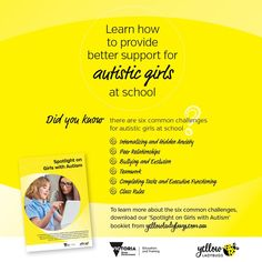 A comprehensive guide to greater visibility, better understanding and improving support for autistic girls by Yellow Ladybugs together with the Department of Education & Training Victoria, in collaboration with autistic females, parents, teachers, allied health professionals and academic researchers. Yellow Ladybug, List Of Resources, Class Rules, Executive Functioning, Education And Training, Ladybugs, Research Paper, Bullying, Collaboration