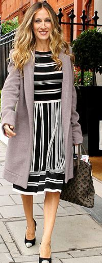 Who made Sarah Jessica Parker's pumps, black dress, brown handbag and gray coat that she wore in London?