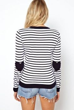 Blue White Striped Heart Elbow Patch Sweater - Sheinside.com Mobile Site