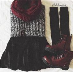 Perfect for winter or fall! Sweater | Black Leather Skirt | Scarf | Black High Socks | A pair of Boots