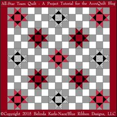 """I alternated Ohio Star blocks and Nine Patch blocks to create a good size throw/lap quilt – it measures 68″ x 68″. I used my AccuQuilt GO! Big Fabric Cutter and three cutting dies to cut this entire quilt (including binding): GO! Ohio Star-12″ (Finished) (55174) GO! Strip Cutter-4½"""" (4″ Finished) (55054) GO! Strip Cutter-2″..."""