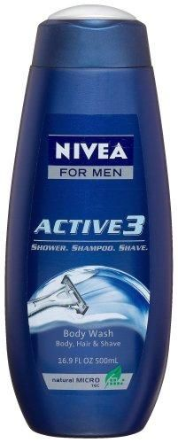 Nivea For Men Active3 Body Wash for Body, Hair & Shave, 16.9-Ounce Bottles (Pack of 3)***Refreshing fragrance,Leaves skin feeling clean and comfortable,Foaming formula removes dirt and sweat from both skin and hair,.