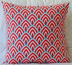 Calypso Red White Aqua Premier Prints Indoor/Outdoor Lalo Calypso Pillow Cover