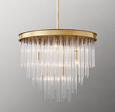 RH Baby & Child's Calista Pendant:A cascade of crystal-like rods offers a dramatic display of light in our Calista pendant. Its graduated lengths are cut into slim, smooth cylinders, nodding to the streamlined aesthetic that defined Art Deco style. Art Deco Lighting, Modern Lighting, Lighting Design, Art Deco Pendant Light, Pendant Lighting, Art Deco Chandelier, Chandelier Bedroom, Luxury Chandelier, Glass Chandelier