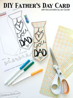 Father's Day tie craft using a printable designed by Jen Goode