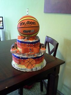 Basketball Diaper Cake, look me up in fb as Edna's Diaper cakes