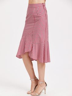 Shop Red Gingham Ruffle Trim Asymmetric Skirt online. SheIn offers Red Gingham Ruffle Trim Asymmetric Skirt & more to fit your fashionable needs.