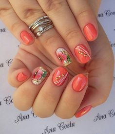 30 Unhas laranjas lindas e poderosas in 2020 Easter Nail Designs, Fall Nail Art Designs, Cool Nail Designs, Mauve Nails, Glitter Nails, Nail Manicure, Toe Nails, Ongles Forts, Flower Nail Art