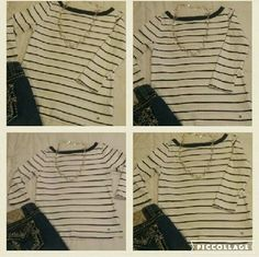 Shirt Tommy Hilfiger navy blue and white stripped shirt. Has 3/4 lengths sleeves. Used but in great  condition.  Size as on tag S/P. Tommy Hilfiger Tops