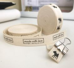Packaging Ideas Discover Twill Half Inch Ribbon Spool - Flat or Folded CUSTOM Printed Sew-in Fabric Label (natural and white) Custom Printed Fabric, Printed Ribbon, Printing On Fabric, Fabric Labels, Sewing Labels, Passementerie, Tag Design, Clothing Labels, Knit Or Crochet