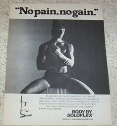 1983 ad page - Soloflex body building SEXY GUY bare-chest muscles