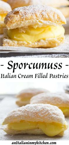 Sporcamuss Italian Cream Filled Pastries A delicious Italian Pastry Cream filled Puff Pastry Square, Sporcamuss, a traditional recipe from Southern Italy, fast easy and so good. Great as a snack or dessert! Köstliche Desserts, Delicious Desserts, Dessert Recipes, Plated Desserts, Breakfast Recipes, Easy Puff Pastry Recipe, Sweet Puff Pastry Recipes, Phylo Pastry Recipes, Easy Puff Pastry Desserts
