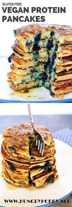 Healthy Recipes Gluten Free Vegan Protein Pancakes with Wild Blueberries of protein and of fiber per serving! - Gluten Free Vegan Protein Pancakes are a healthier no refined flour stack of pancakes! Packed with of fiber and of protein per serving! Vegan Dishes, Vegan Desserts, Vegan Protein Snacks, Protein Recipes, Vegan Food, Diet Recipes, Vegan Protein Powder, Vegan Lunches, Paleo Dessert