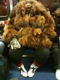 Fashion NO NO 101.On a subway yeah it gets cold right?