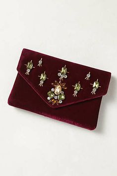 3ebf0d88e1a7 Anthropologie - Jeweled Velvet Clutch กระเป๋าคลัตช์