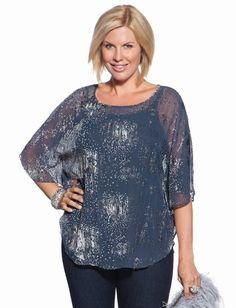 Only available for those 14/16's out there.. this Textured Kaftan is a great day-night transition shirt. Wear it with skinny jeans and flats and be comfortable and casual enough for lunch but just dressy enough for dinner! #plussize #style #fashion $39.99 @eloquii