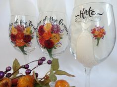 FALL WEDDING Hand Painted  Bridesmaid Wine Glasses by samdesigns22, $20.00