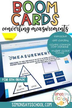 Looking to address 5th grade common core math standards in a fun and engaging way? These 5th grade math Boom cards are a great way to get your upper elementary math students converting measurements. This resource is also great for 5th grade distance learning, as it is a digital math resource! #5thgrademath #5thgradedistancelearning #mathdistancelearning