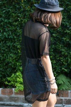 Black Short Sleeved Mesh See-Thru Dress | USTrendy www.ustrendy #ustrendy