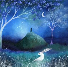 Moonlit painting with cute bunny rabbit. This would make a fun painting.