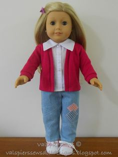 Free tutorial - How to make your t-shirt pattern into a cardigan for American girl doll clothes. Free tutorial - How to make your t-shirt pattern into a cardigan for American girl doll clothes. Sewing Doll Clothes, Sewing Dolls, Girl Doll Clothes, Doll Clothes Patterns, Clothing Patterns, Girl Dolls, Doll Patterns, Ag Dolls, Dress Patterns