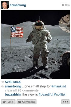 Neil Armstrong @moon - Histagrams: What History Would Look Like If It Was Posted On Instagram | Bored Panda