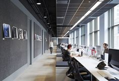 Exposed, expressed structure Black painted open ceiling Metal mesh Linear Benching