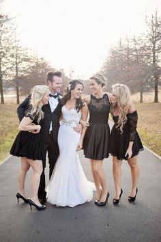 Cute black lace bridesmaid dresses. Black Tie Winter Wedding by Fiona Clair {Tamara & Paul} | SouthBound Bride