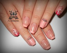 Festive manicure for a special occasion is a combination of French style, pink classic and contemporary one with a painting. On the little finger of the hand French manicure, made in red and pink flowers, is decorated with a sprig of cherry blossoms. On the ring finger nails on the pink color the na…