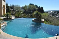 One of the local pools we've worked on here in Northern California's Bay Area -- jealous of this customer's infinity pool! Swimming Pool Repair, Swimming Pools, Aqua Pools, Northern California, Bay Area, Jealous, The Locals, Infinity, Architecture