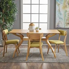 Buy Christopher Knight Home Nasseen Mid Century Natural Oak Finished 5 Piece Wood Dining Set Green Tea Fabric Chairs online - Aristalook Solid Wood Dining Set, 5 Piece Dining Set, Dining Room Sets, Dining Room Design, Dining Chairs, Modern Dining Sets, Eames Style Dining Chair, Kitchen Chairs, Kitchen Dining