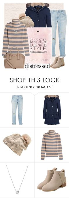 """Ladder in my Jeans"" by ewa-kamila ❤ liked on Polyvore featuring Current/Elliott, Barbour, UGG Australia, 81 Hours, Links of London, Givenchy, Winter, Pink, distressed and camel"