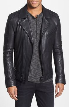 Andrew Marc 'Brayden' Quilted Leather Moto Jacket (Online Only)