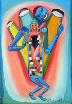 Robot 5, acrylic on canvas, 19 x 27 cm. 2013. Painting of the Serie Surrealism for sale by artist Diego Manuel