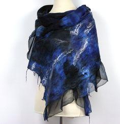 Nuno Felted Hand Dyed Silk Scarf  Shawl  Black Blue by ZMFelt, £60.00
