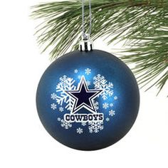 Dallas Cowboys Shatter-Proof Snowflake Ball Ornament - Navy Blue