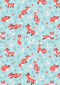 Cute Wallpaper For Phone, Kawaii Wallpaper, Cellphone Wallpaper, Iphone Wallpaper, Fox Pattern, Pattern Art, Cute Wallpapers, Wallpaper Backgrounds, Fox Background