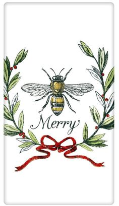 Bee Merry Honeybee Dish Towel - A Love Of Dogs – For the Love Of Dogs - Shopping for a Cause