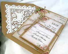 Vintage Rose Rustic Wedding Invitation w Kraft Doily Lace Envelope Beautiful Shabby Chic, 50 Piece Sample -  Custom Any Color on Etsy, £152.09